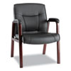 Alera® Madaris Series Leather Guest Chair with Wood Trim Legs