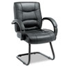 Strada Series Guest Chair, Black Leather Upholstery