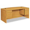 10500 Series Bow Top Double Pedestal Desk, 72w x 36d x 29-1/2h, Harvest