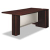 Attune Right Peninsula, Frosted Modesty Panel, 72w x 36d x 29-1/2h, Mahogany