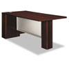 Attune Left Peninsula, Frosted Modesty Panel, 72w x 36d x 29-1/2h, Mahogany