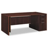 Attune Right Pedestal Desk, Laminate Mod Panel, 72w x 36d x 29-1/2h, Mahogany