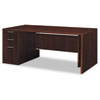 Attune Left Pedestal Desk, Laminate Modesty Panel, 72w x 36d x 29-1/2h, Mahogany