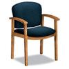 2111 Invitation Series Wood Guest Chair, Solid Blue Fabric/Harvest