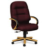 2190 Pillow-Soft Wood Series Executive High-Back Chair, Harvest/Wine