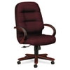 2190 Pillow-Soft Wood Series Executive High-Back Chair, Mahogany/Wine