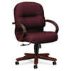 2190 Pillow-Soft Wood Series Mid-Back Chair, Mahogany/Wine