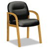2190 Pillow-Soft Wood Series Guest Arm Chair, Harvest/Black Leather