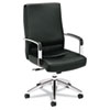Caldo Executive High-Back Chair, Black Leather/Polished Aluminum