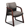 2900 Series Guest Arm Chair, Gray Fabric/Mahogany Finish Wood