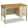34000 Series Right Pedestal Desk, 45-1/4w x 24d x 29-1/2h, Harvest/Putty