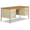 34000 Series Double Pedestal Desk, 60w x 30d x 29-1/2h, Harvest/Putty