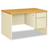 38000 Series Right Pedestal Desk, 48w x 30d x 29-1/2h, Harvest/Putty