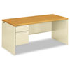 38000 Series Left Pedestal Desk, 66w x 30d x 29-1/2h, Harvest/Putty