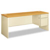 38000 Series Right Pedestal Credenza, 72w x 24d x 29-1/2h, Harvest/Putty