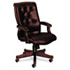6540 Series Executive High-Back Swivel Chair, Mahogany/Oxblood Vinyl Upholstery