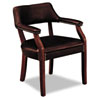 6550 Series Guest Arm Chair, Mahogany/Oxblood Vinyl Upholstery