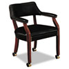 6550 Series Guest Arm Chair with Casters, Mahogany/Black Vinyl Upholstery