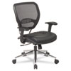 Air Grid Series Deluxe Task Chair, Leather Upholstery, Black/Chrome