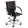 Flaunt Series Mid-Back Manager`s Chair, Black Leather/Chrome