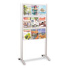 Luxe Magazine Rack, 9 Compartments, 31-3/4w x 20d x 62-3/4h, Silver/Clear