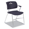 Veer Series Stacking Chair w/Arms, Sled Base, Black/Chrome, 4/Carton