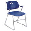 Veer Series Stacking Chair w/Arms, Sled Base, Blue/Chrome, 4/Carton