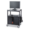 Mobile AV Adjustable Cart w/Locking Cabinet, 24w x 18d x 26 to 42h, Black