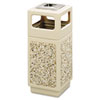 Canmeleon Ash/Trash Receptacle, Square, Aggregate/Polyethylene, 15 gal, Tan