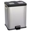 Right-Size Recycling Station, Rectangular, Steel/Plastic, 15 gal, Stainless/Blk