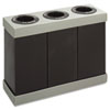 At-Your-Disposal Recycling Center, Polyethylene, Three 28-gal Bins, Black